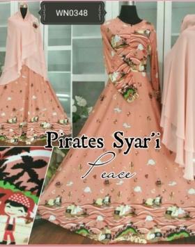 Gamis Terbaru Bahan Jersey Import Pirates Syar'i-4