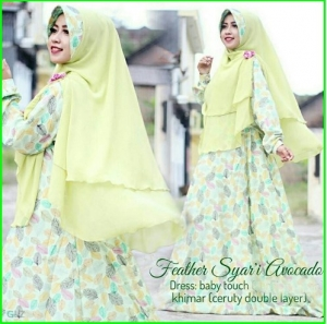 Gamis Busui Bahan Baby Touch Feather Syar'i