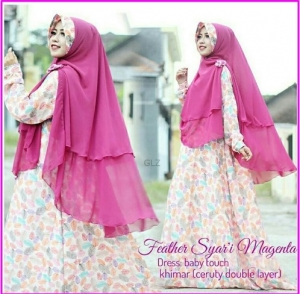 Gamis Busui Bahan Baby Touch feather syar'i-2