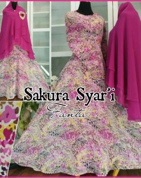 Gamis Pesta Motif Bunga Bahan Ceruty Sakura Syar'i-2