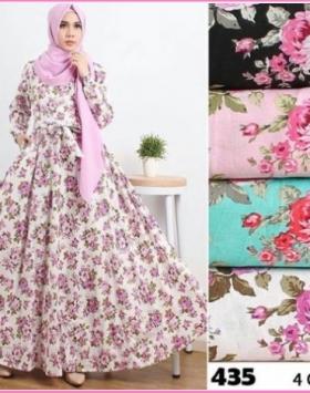 Baju Gamis Bahan Katun Jepang Terbaru Wardah 435