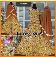 Baju Muslim Wanita Modern bahan Prisket Syar'i-7