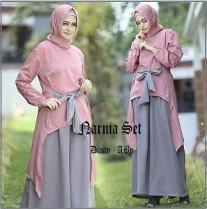 Busana Muslim Modern Model Kulot Narnia Set