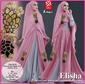 Gamis Pesta Elisha-2 Bahan Kombinasi Spandex Jersey Princess