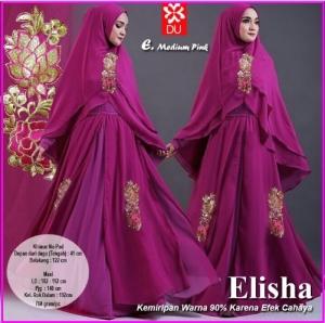Gamis Pesta Elisha-4 Bahan Kombinasi Spandex Jersey Princess