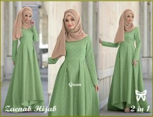 Baju Gamis Pesta Mewah Ukuran Kecil Bahan Jacquard Zaenab Hijab Green