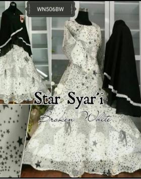 Baju Gamis Pesta Terbaru Dengan Bahan Ceruty Star Syar'i Broken White