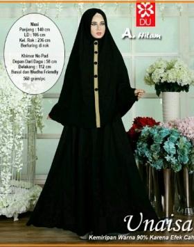 Baju Gamis Syar'i Bahan Katun Rayon Unaisah Hitam