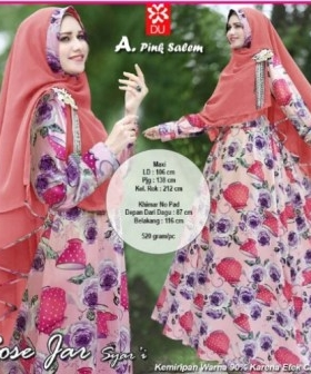 Baju Gamis Terbaru Cantik Rose Jar Syar'i Pink Salem