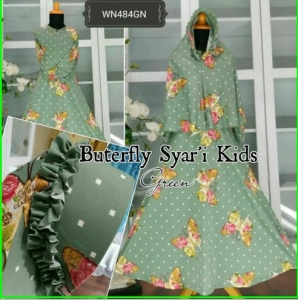 Baju Muslim Anak Bahan Jersey Butterfly Syar'i Kids