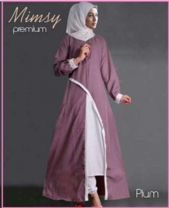 Busana Muslim Modern Anggun Bahan Katun Rayon Mimsy Set Plum
