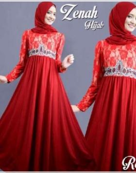 Busana Muslim Pesta Anggun Bahan Brukat Kombinasi Zenah Hijab Merah