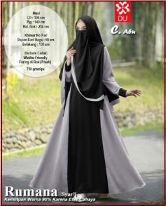 Gamis Syar'i Bahan Katun Rayon Rumana Syar'i warna Abu Cadar