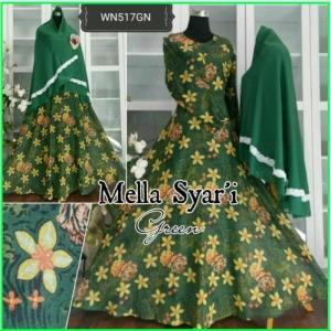 Baju Gamis Terbaru Bahan Flanel Mella Syar'i Green