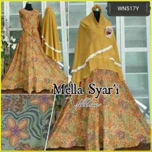 Baju Gamis Terbaru Bahan Flanel Mella Syar'i Yellow