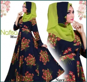 Baju Muslim Wanita Terbaru Bahan Bubble Pop Nafisa Navy