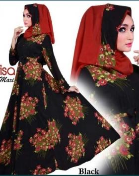 Baju Muslim Wanita Terbaru Bahan Buble Pop Nafisa Hitam
