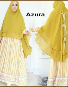 Gamis Cantik Terbaru Bahan Balotelli Azura Mustard