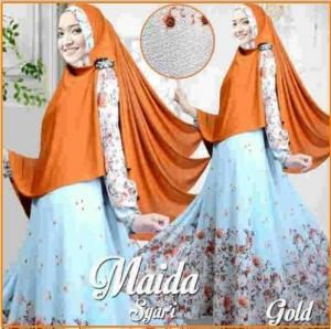 Gamis Muslimah Modern Bahan Bubble Pop Maida Syar'i Gold