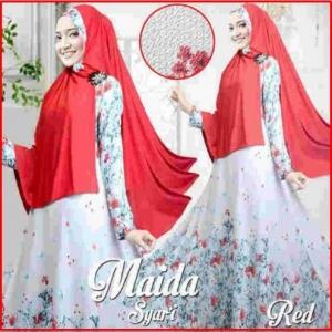 Gamis Muslimah Modern Bahan Bubble Pop Maida Syar'i Merah