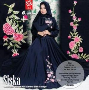 Baju Gamis Cantik Premium Bahan Balotelli Siska Syar'i Hitam