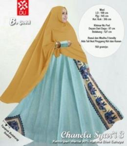 Baju Gamis Katun Bangkok Chanela Syar'i Gold