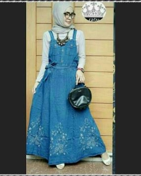 Busana Muslim Casual Bahan Jeans Lulu set