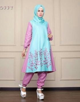 Busana Muslim Trendy Masa Kini Soffy Set Mint Bahan Balotelli
