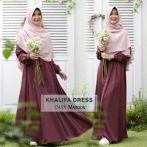 Gamis Muslimah Cantik Bahan Balotelli Khalifa Dark Maroon