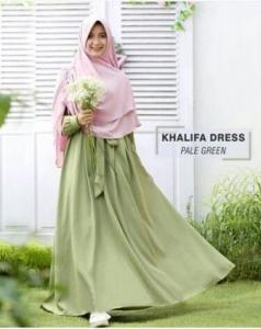 Gamis Muslimah Cantik Bahan Balotelli Khalifa Green tea