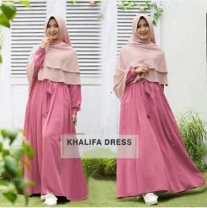 Gamis Muslimah Cantik Bahan Balotelli Khalifa Rosy Pink