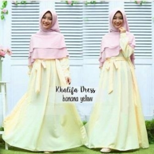 Gamis Muslimah Cantik Bahan Balotelli Khalifa Soft Yellow