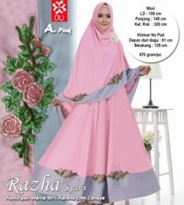 Gamis Premium Cantik Bahan Baloteli Razha Syar'i Pink