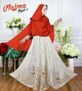 Baju Gamis Cantik Bahan Balotelli Najma Syar'i Bata