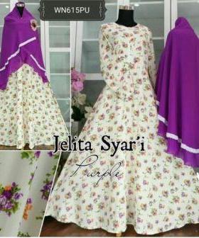Baju Gamis Cantik Bahan Wollycrepe Jelita Syar'i
