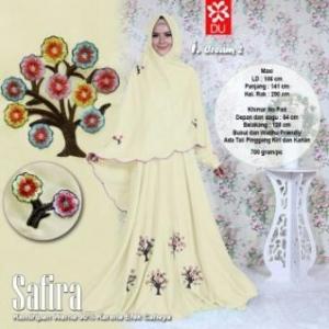 Baju Gamis Cantik Dan Modis Bahan Wolfis Safira Syar'i cream