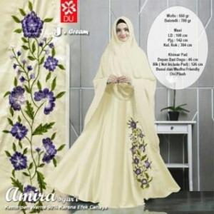 Baju Gamis Cantik Syar'i Dengan Bahan Wooll peach Amira Syar'i Cream