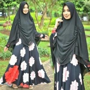 Baju Gamis Cantik Terbaru Bahan Bubble Pop Vanesa Syar'i Black