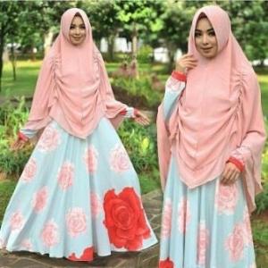 Baju Gamis Cantik Terbaru Bahan Bubble pop Vanesa Syar'i Peach