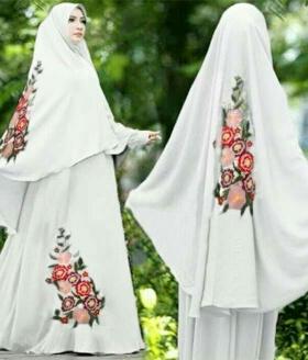Baju Gamis Cantik Terbaru Bahan Diamond Crepe Lavenia Putih