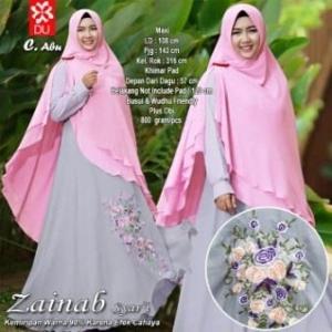 Baju Gamis Pesta Bahan Kombinasi Zainab Syar'i Abu
