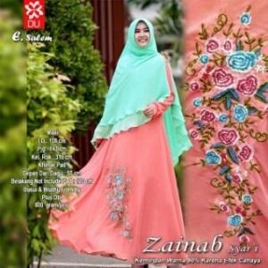Baju Gamis Pesta Bahan Kombinasi Zainab Syar'i Salem