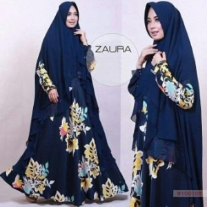 Baju Gamis Terbaru Syar'i Bahan Maxmara Zaura Syar'i Navy