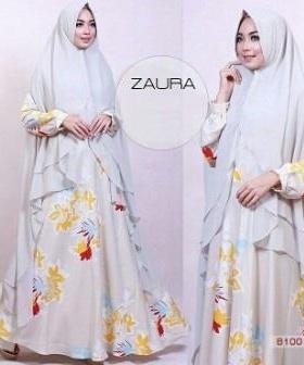 Baju Gamis Terbaru Syar'i Bahan Maxmara Zaura Syar'i Silver