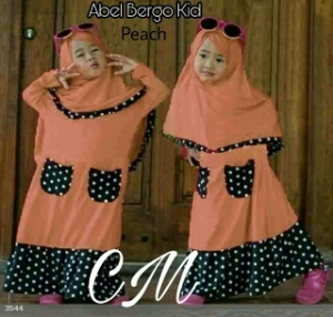 Baju Muslim Anak Abel Kids Peach Bahan Jersey Kombinasi Waffle