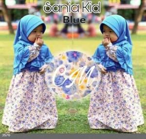 Baju Muslim Anak Sania Kids Blue Bahan Katun Jepang Bermotif