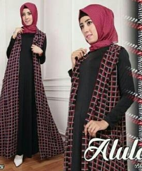 Busana Muslim Modern Online Bahan Kombinasi Alula Set