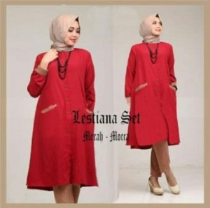 Busana Muslim Trendy Dengan Bahan Spandex Korea Lestiana Set Merah Mocca