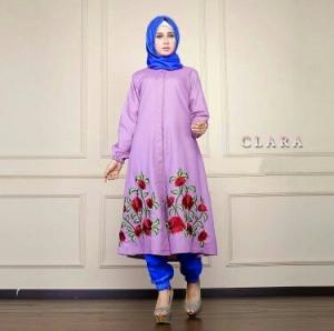 Busana Muslim Trendy Keluaran Terbaru Bahan Balotelli Clara Set Lavender