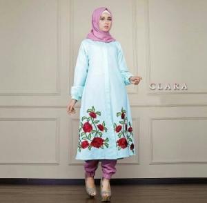 Busana Muslim Trendy Keluaran Terbaru Bahan Balotelli Clara Set Mint
